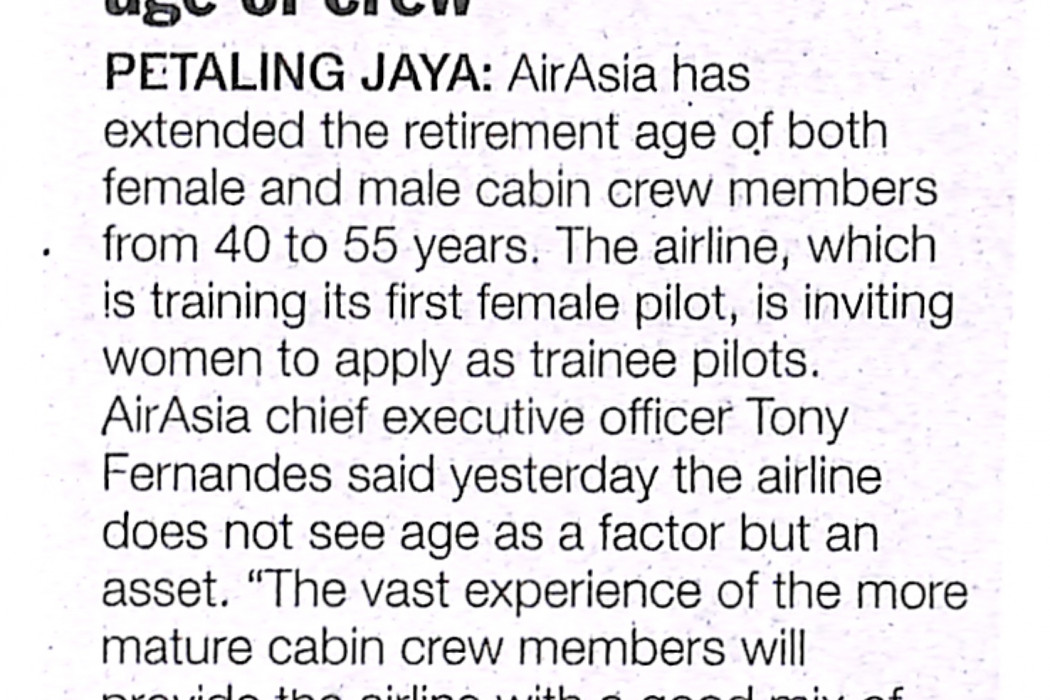 Airline extends retirement age of crew