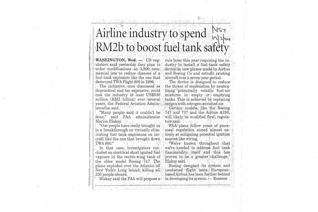 Airline industry to spend RM2b to boost fuel tank safety
