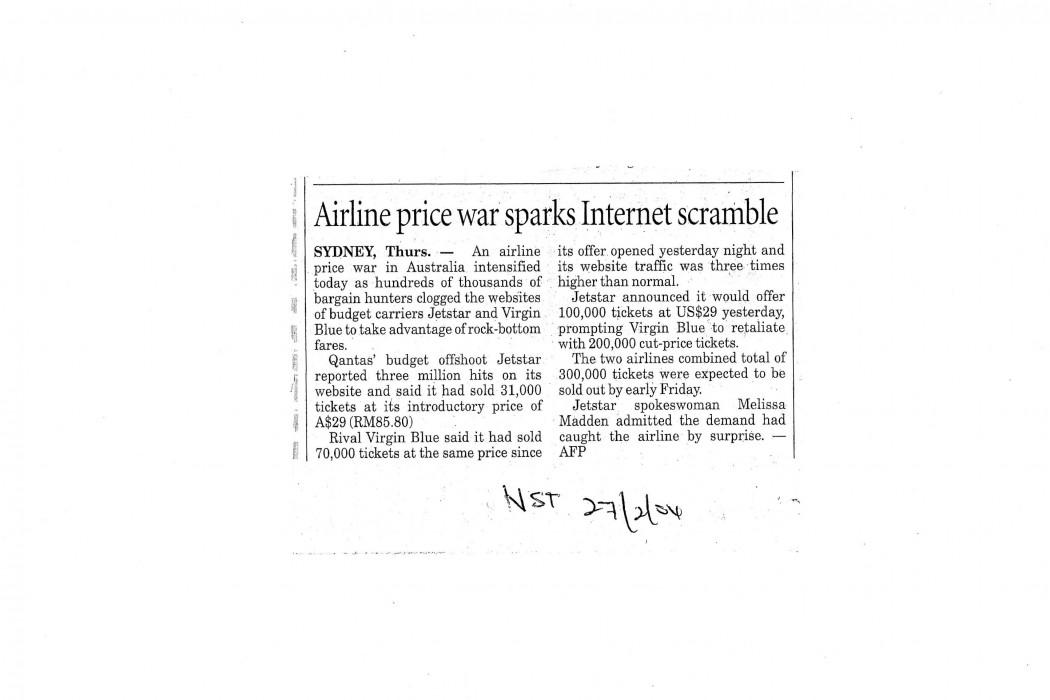 Airline price war sparks Internet scramble