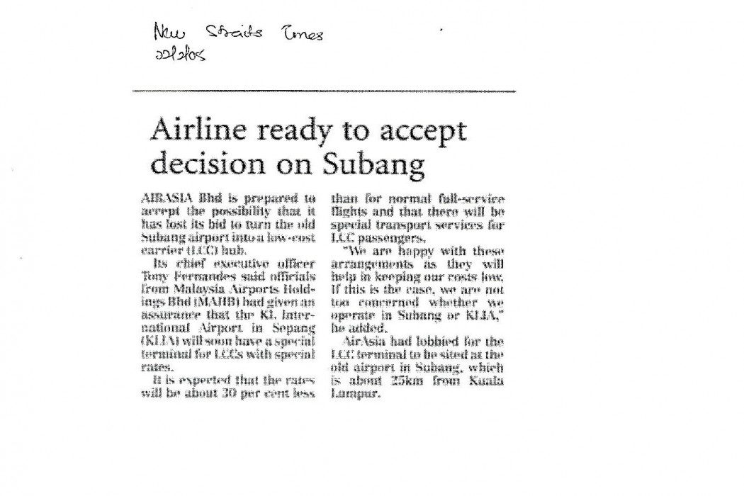 Airline ready to accept decision on Subang