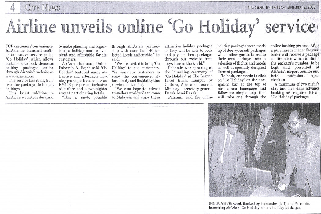 Airline unveils online 'Go Holiday' service