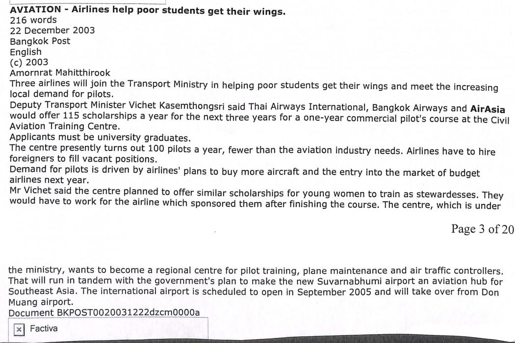 Airlines help poor students get their wings
