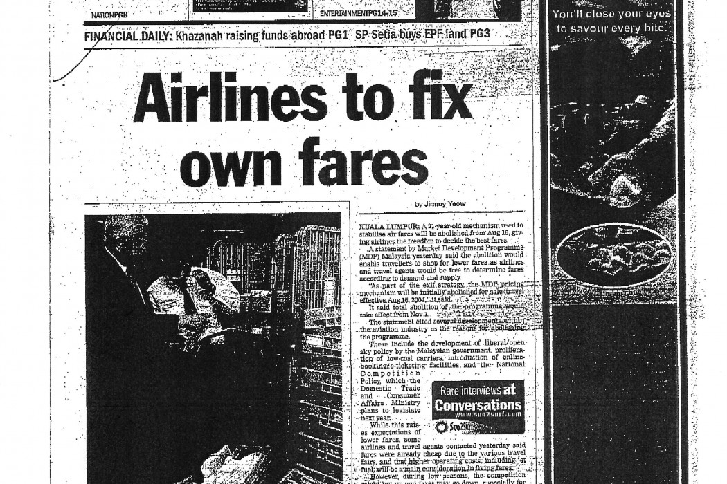 Airlines to fix own fares (1)