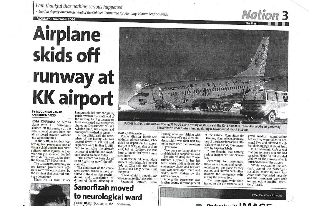Airplane skids off runway at KK airport