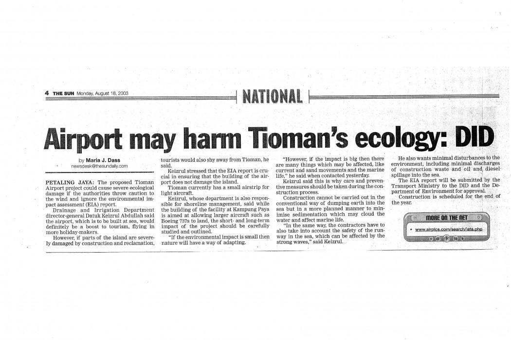 Airport may harm Tioman's ecology DID