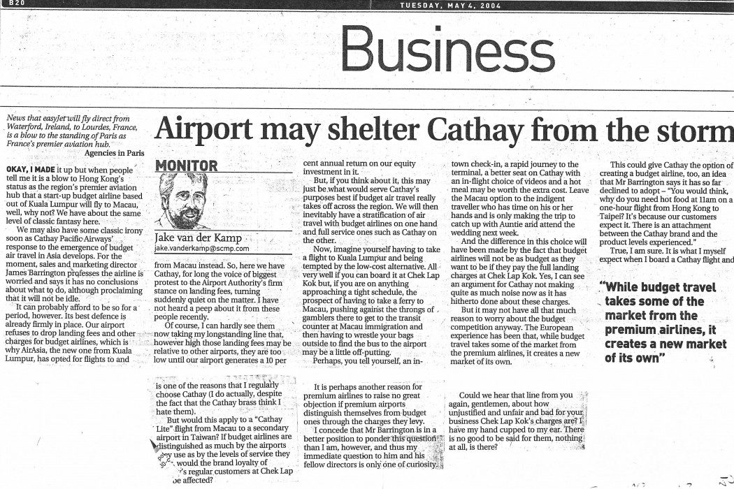 Airport may shelter Cathay from the storm