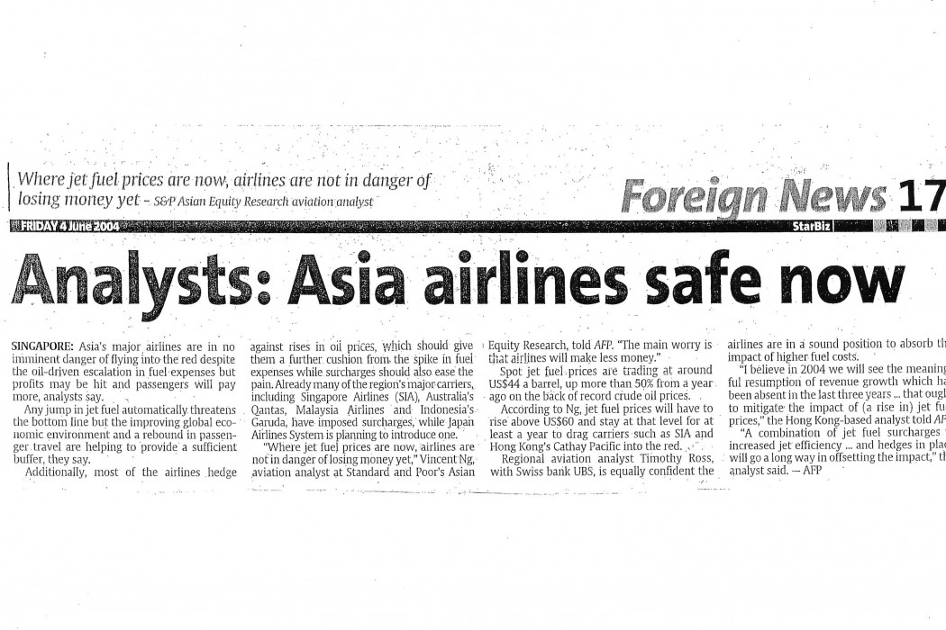 Analysts Asia airlines safe now