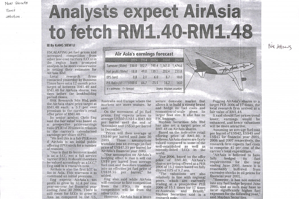 Analysts expect airasia to fetch RM1.40-RM1.48