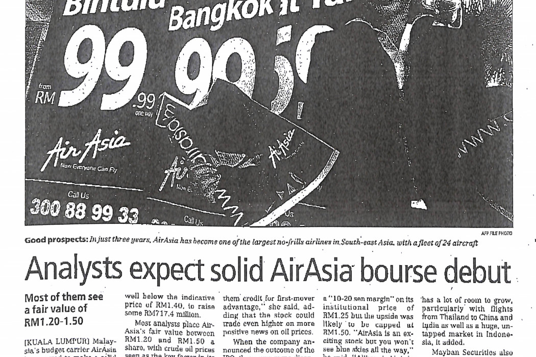 Analysts expect solid airasia bourse debut