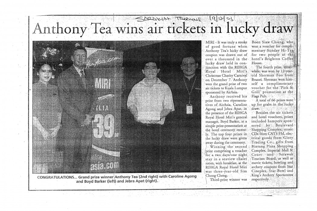 Anthony Tea wins air ticket in lucky draw