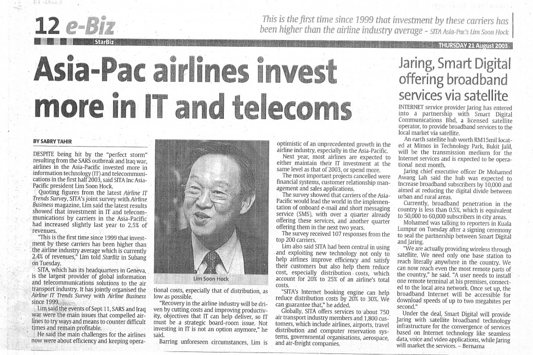 Asia-Pac airlines invest more in IT and telecoms