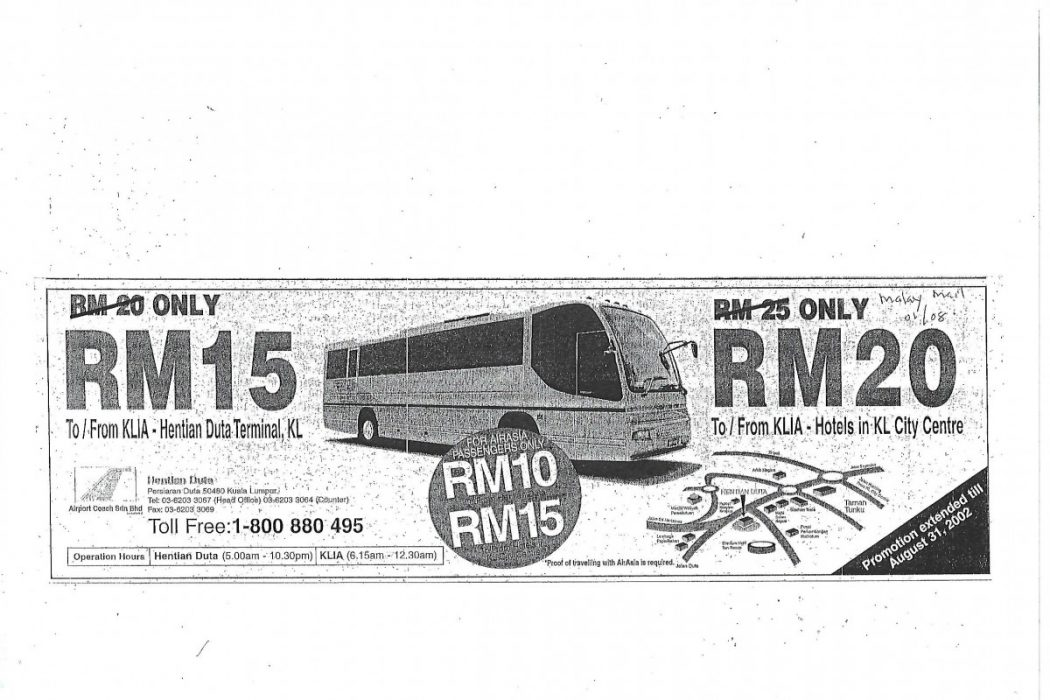 Airport Coach Discount Price for airasia passengers only.