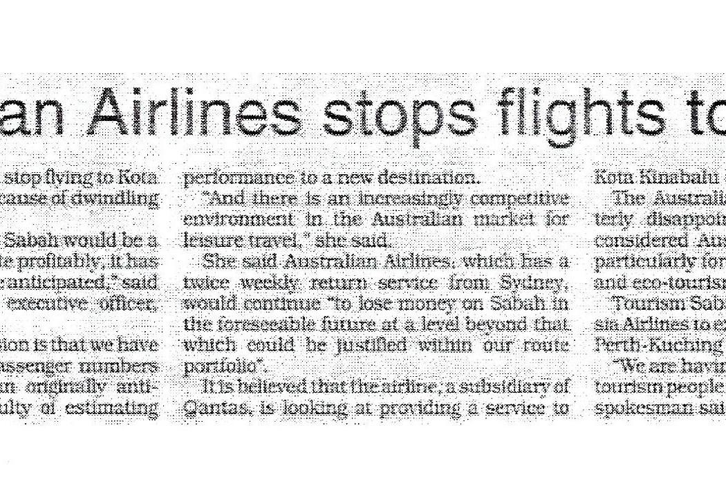Australian Airlines stops flights to Sabah