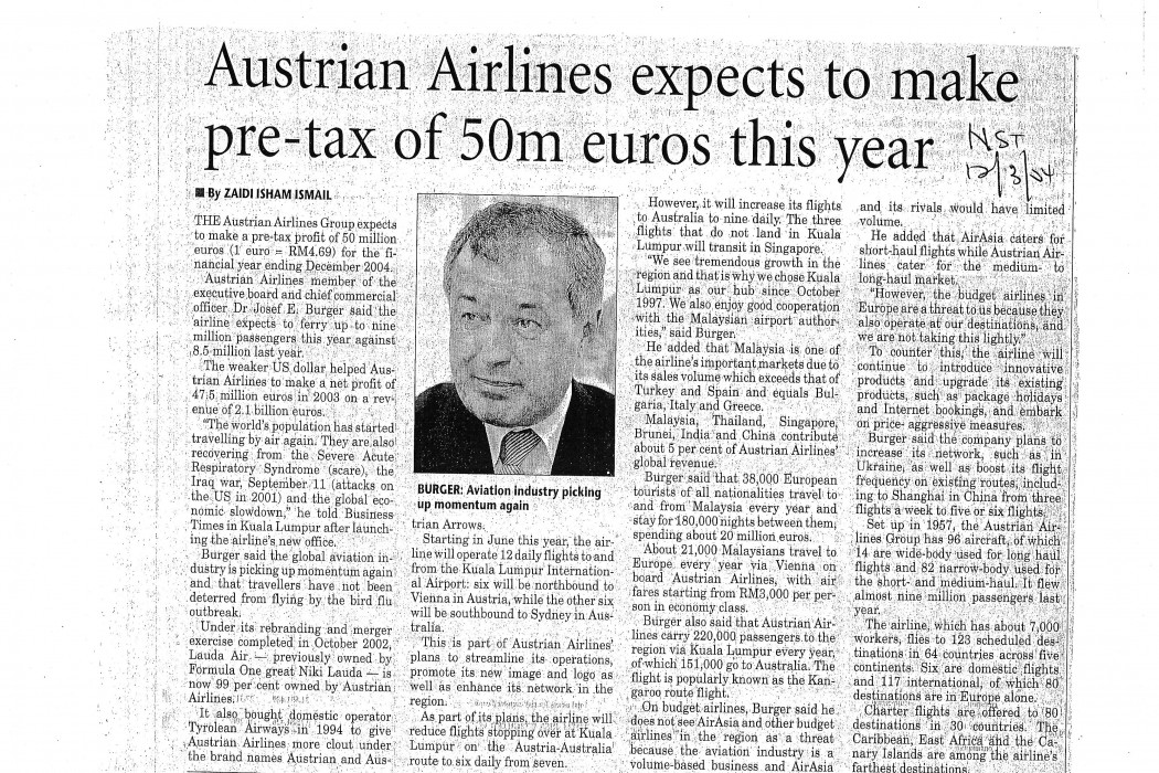 Austrian Airlines expects to make pre-tax of 50m euros this year