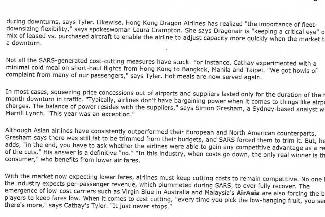 Aviation Battle-tested; The SARS crisis brought Asian carriers long-term benefits; lower costs and more flexibility (2)