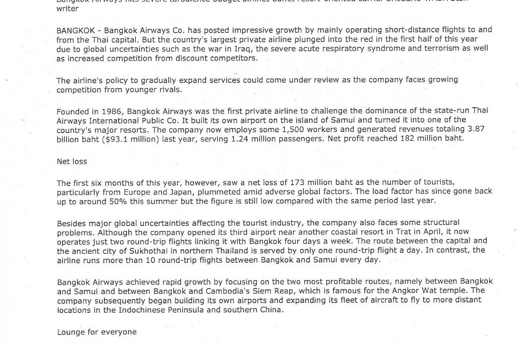 Bangkok Airways hits severe turbulence