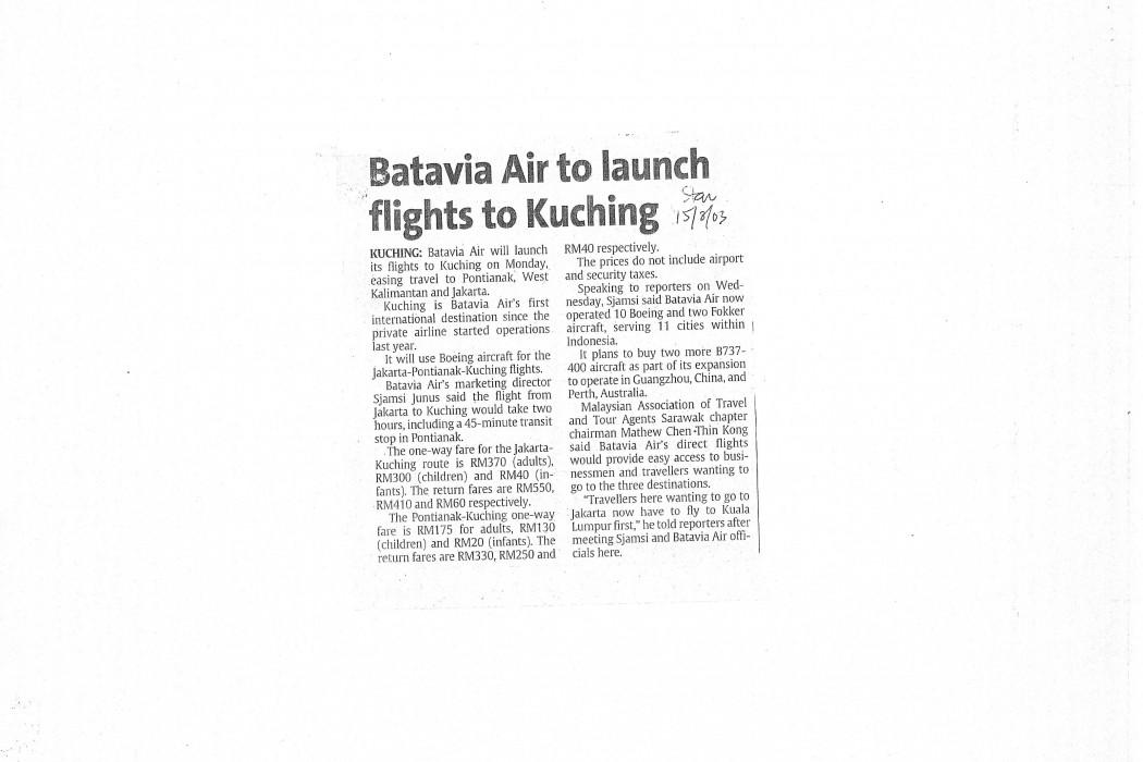 Batavia Air to launch flights to Kuching