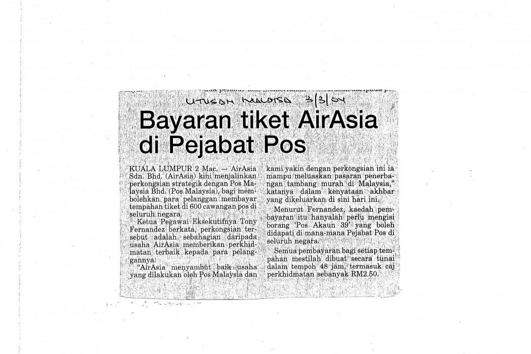 Bayaran tiket airasia di Pejabat Pos