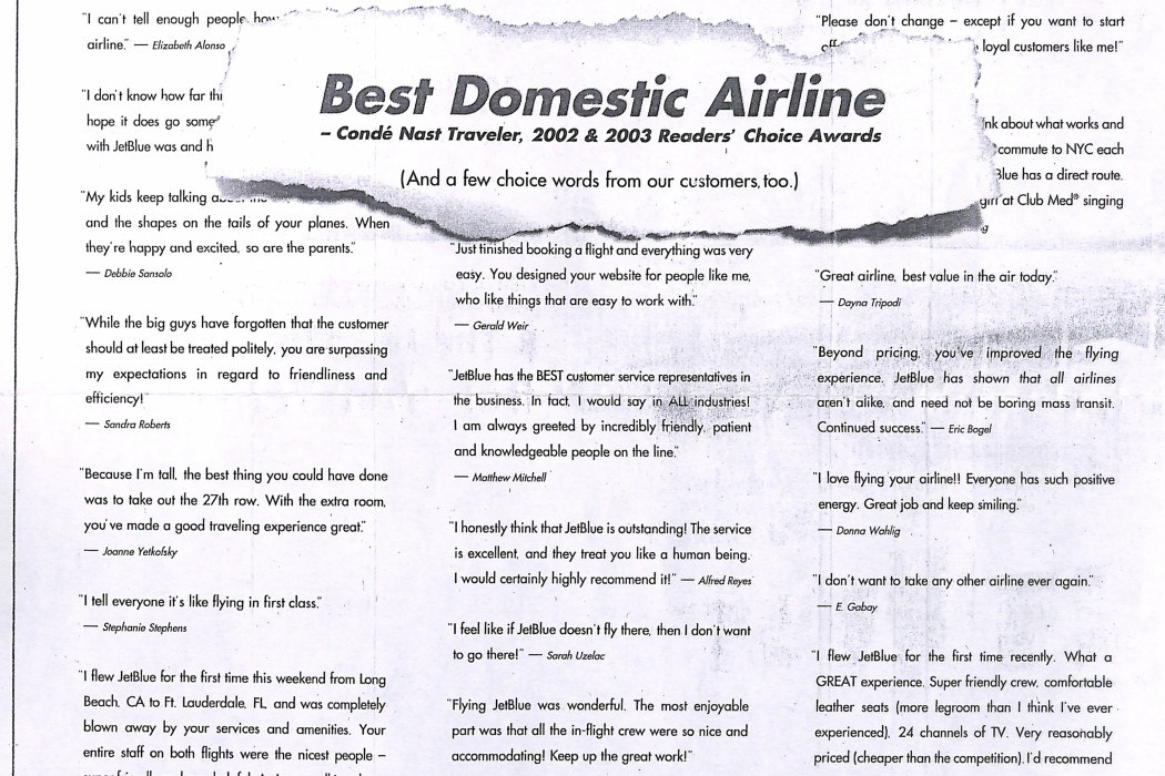 Best Domestic Airline (Jetblue)