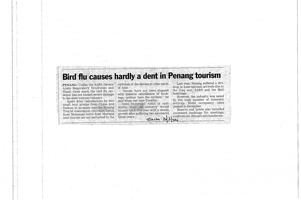Bird flu causes hardly a dent in Penang tourism