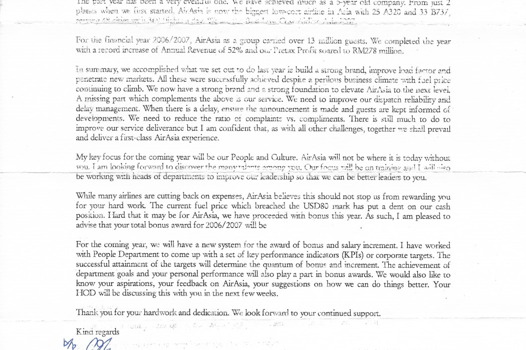 Bonus anouncement letter