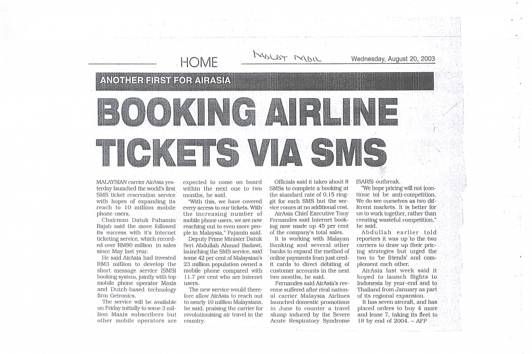 Booking Airlline Tickets via SMS