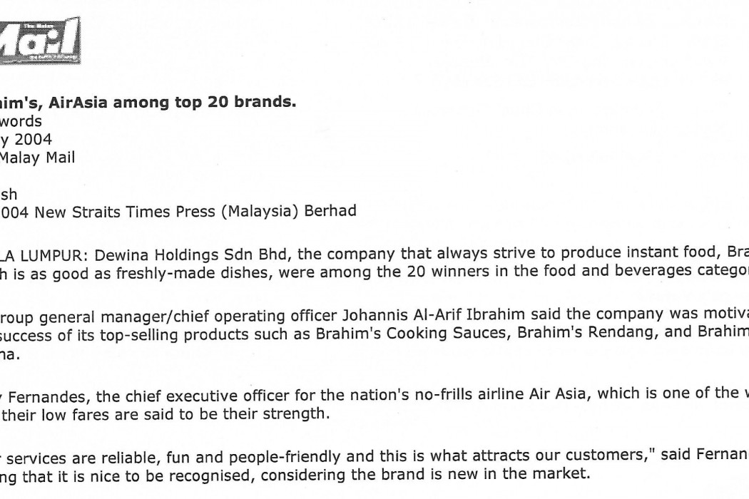 Brahim's, airasia among top 20 brands