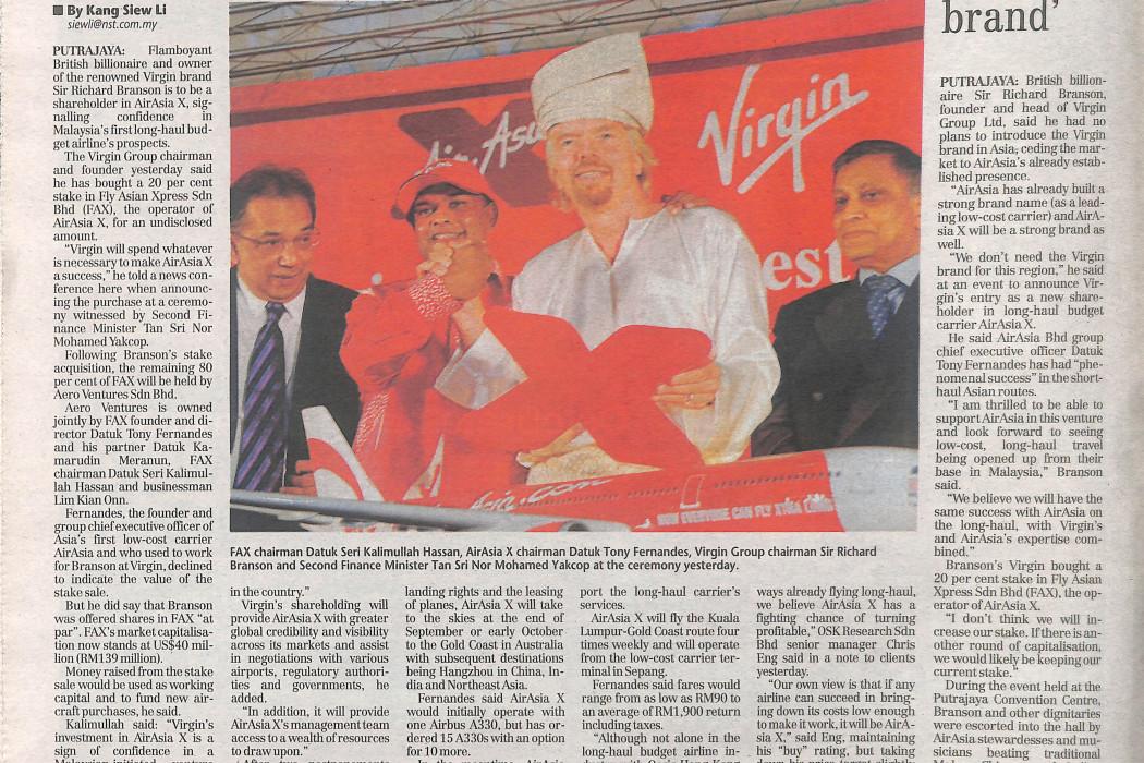 Branson Buys Into airasia X - 02