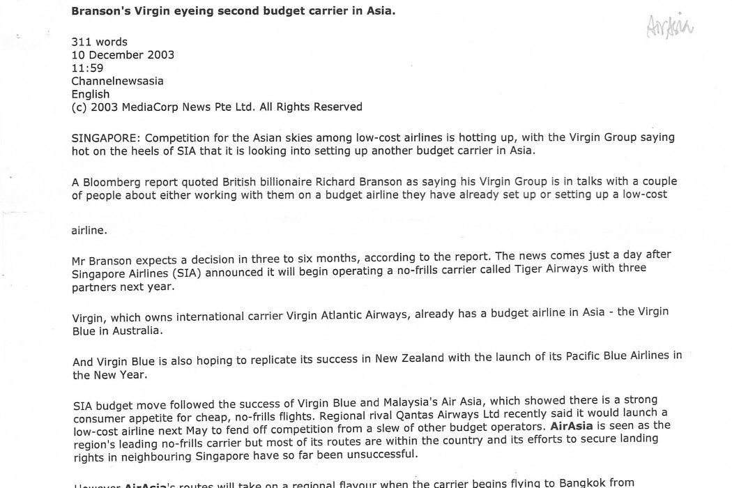 Branson's Virgin eyeing second budget carrier in Asia