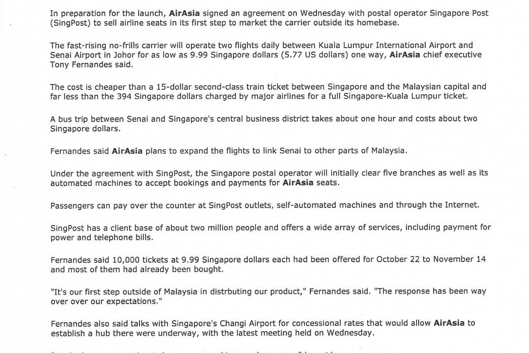 Budget airline airasia sets up on doorstep of Singapore market (2)