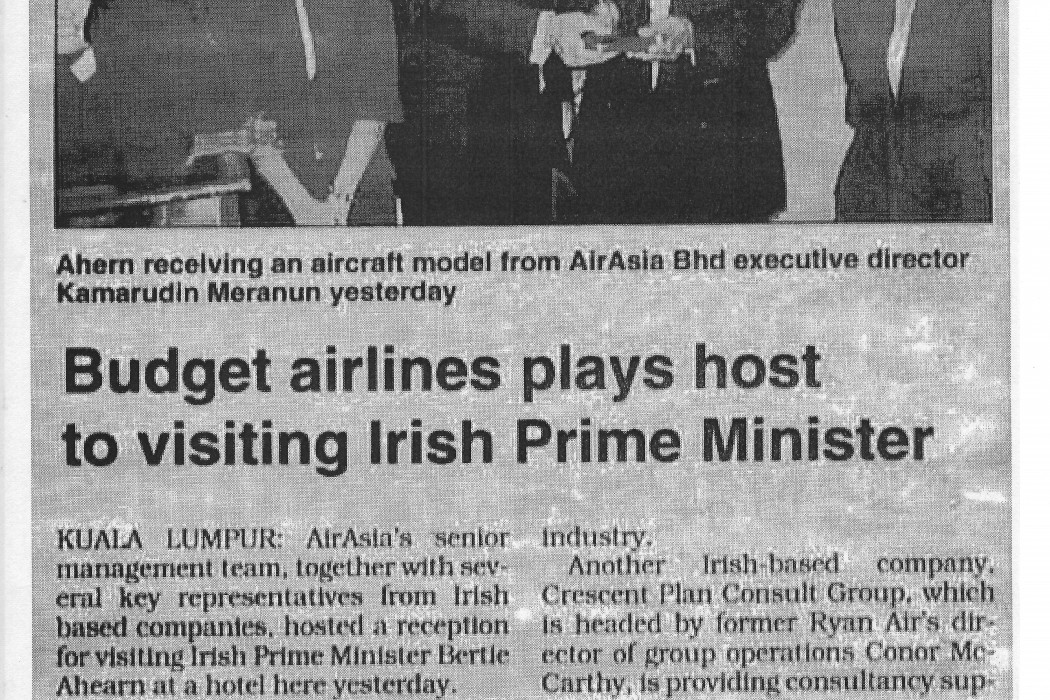 Budget airlines plays host to visiting Irish Prime Minister