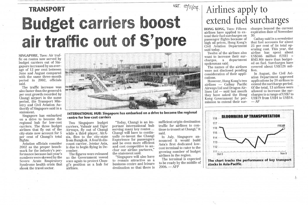 Budget carriers boost air traffic out of S'pore