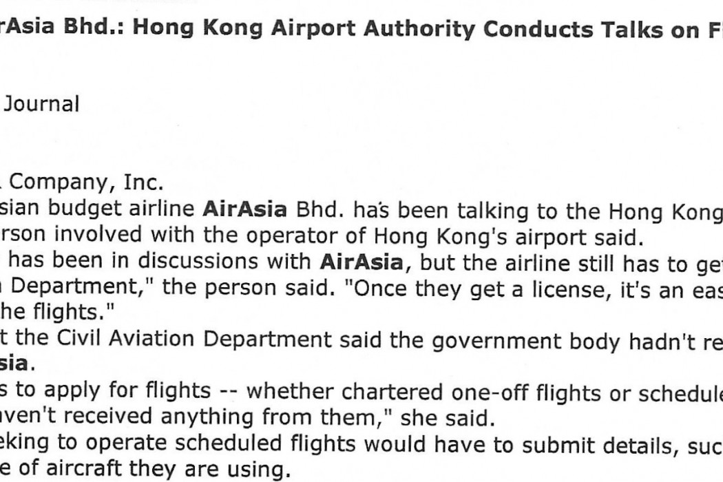 Business Brief - airasia Bhd Hong Kong Airport Authority Conducts Talks on Flight to City