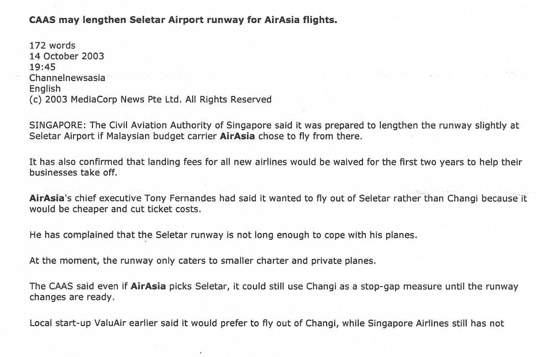 CAAS may lengthen Seletar Airport runway for airasia flights (1)