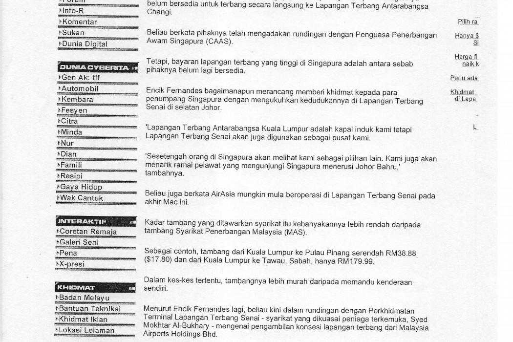 CEO airasia rancang 'rebut' pasaran Singapura