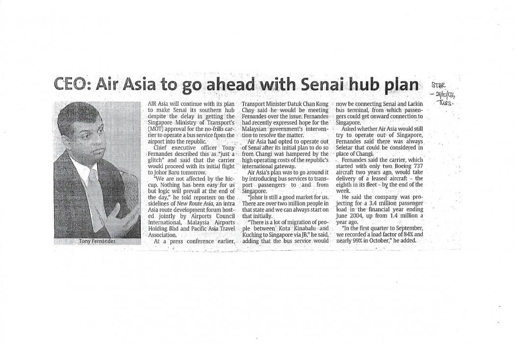 CEO airasia to go ahead with Senai hub plan