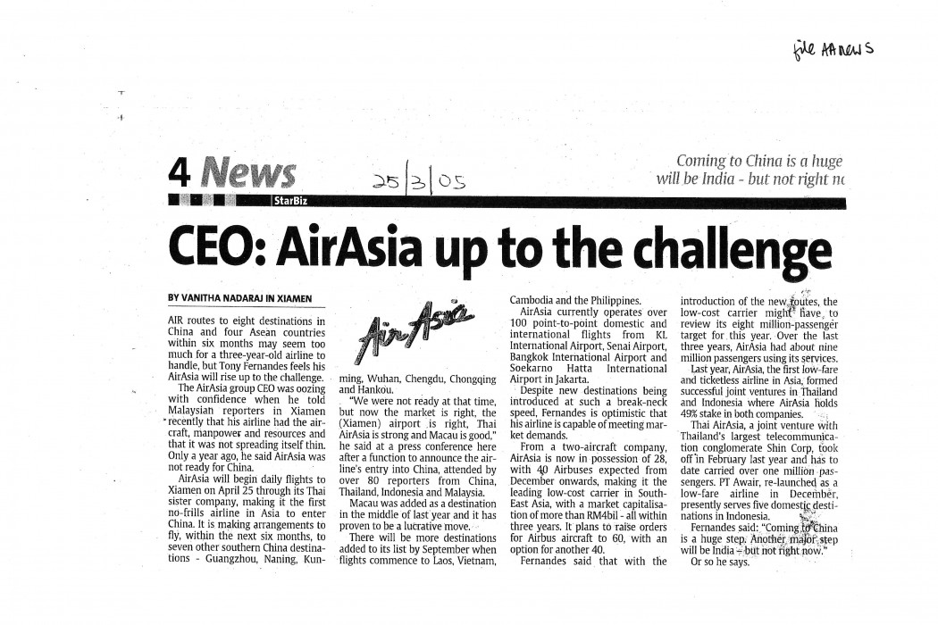 CEO; airasia up to the challenge