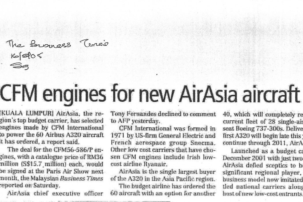 CFM engines for new airasia aircraft