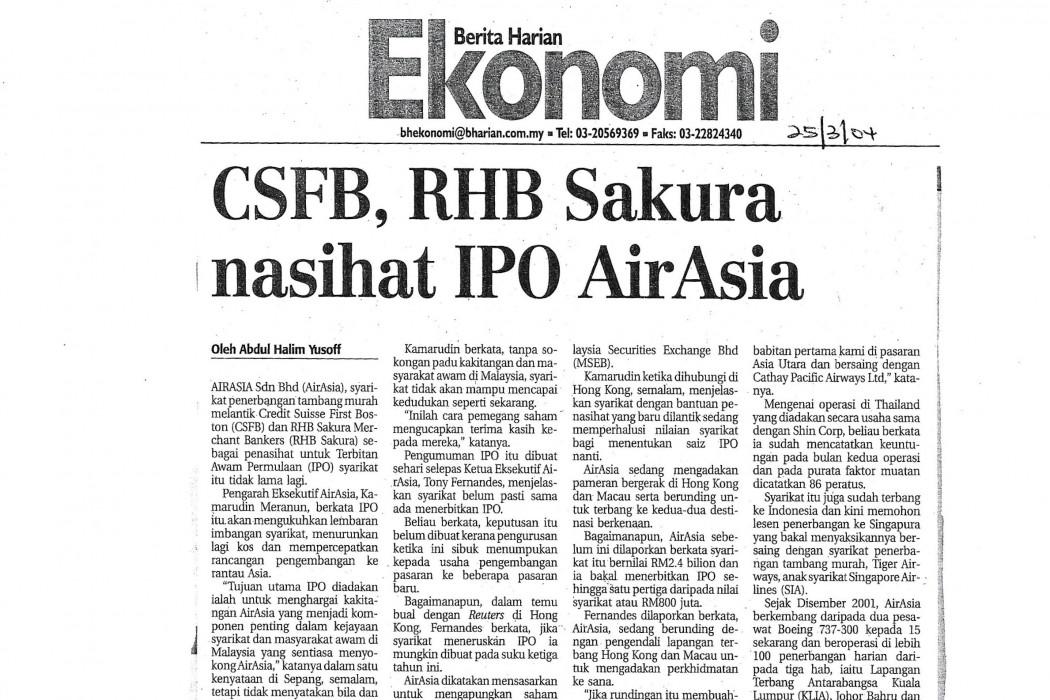 CSFB, RHB Sakura nasihat IPO airasia
