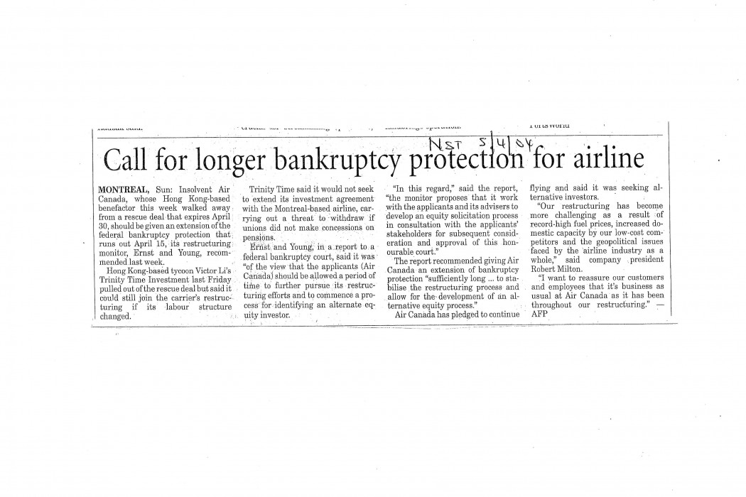 Call for longer bankruptcy protection for airline