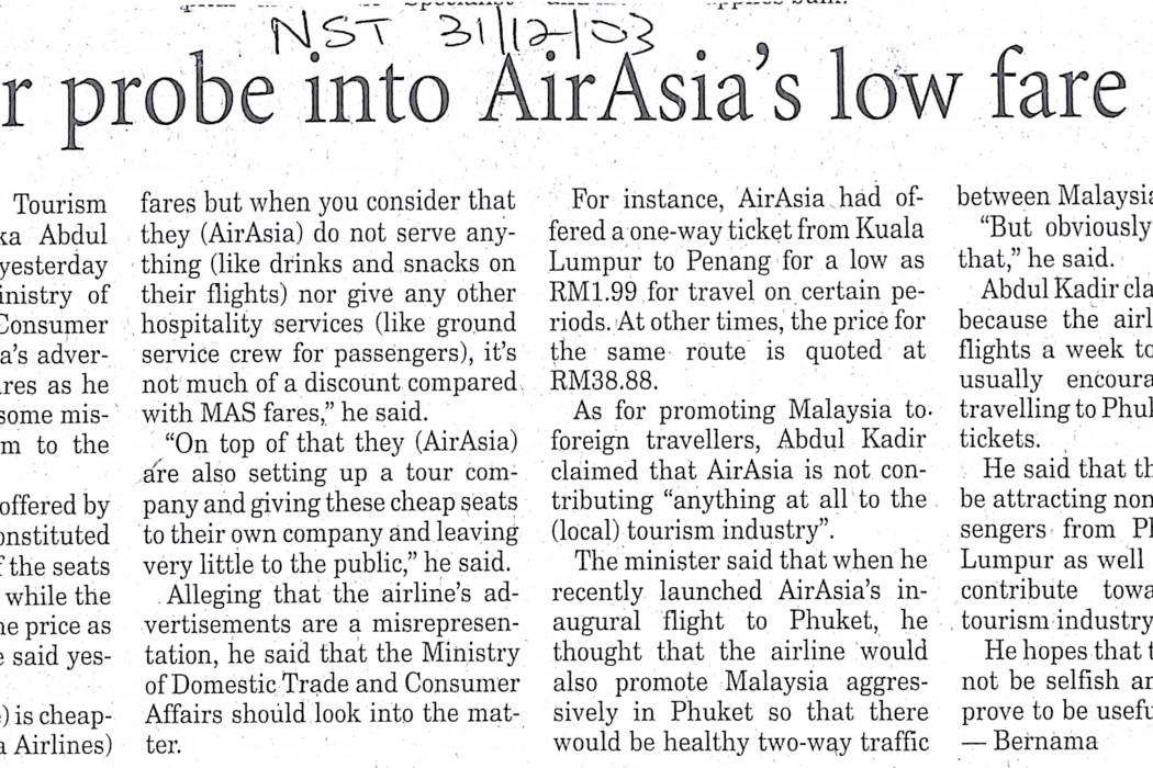 Call for probe into airasia's low fare ads