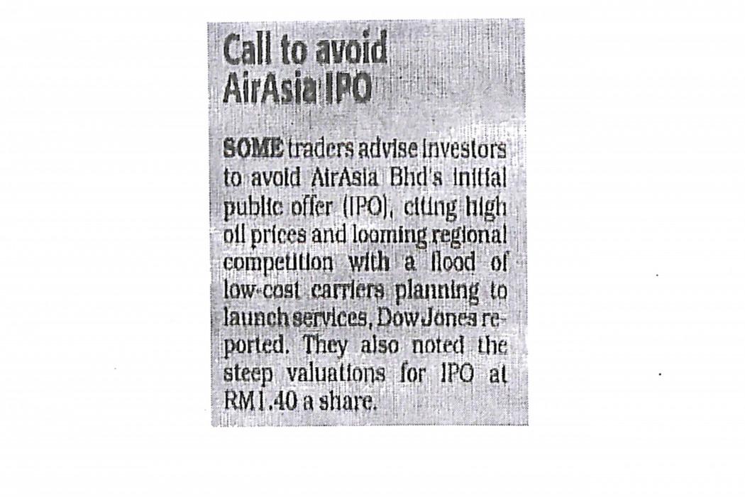 Call to avoid airasia IPO