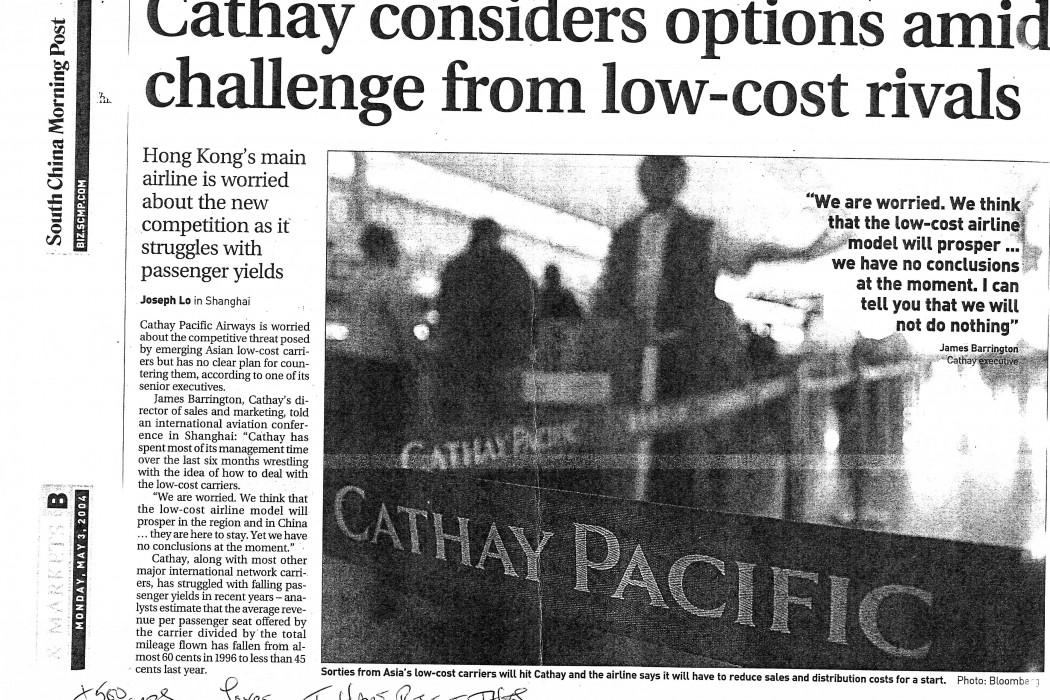 Cathay considers options amid challenge from low-cost rivals