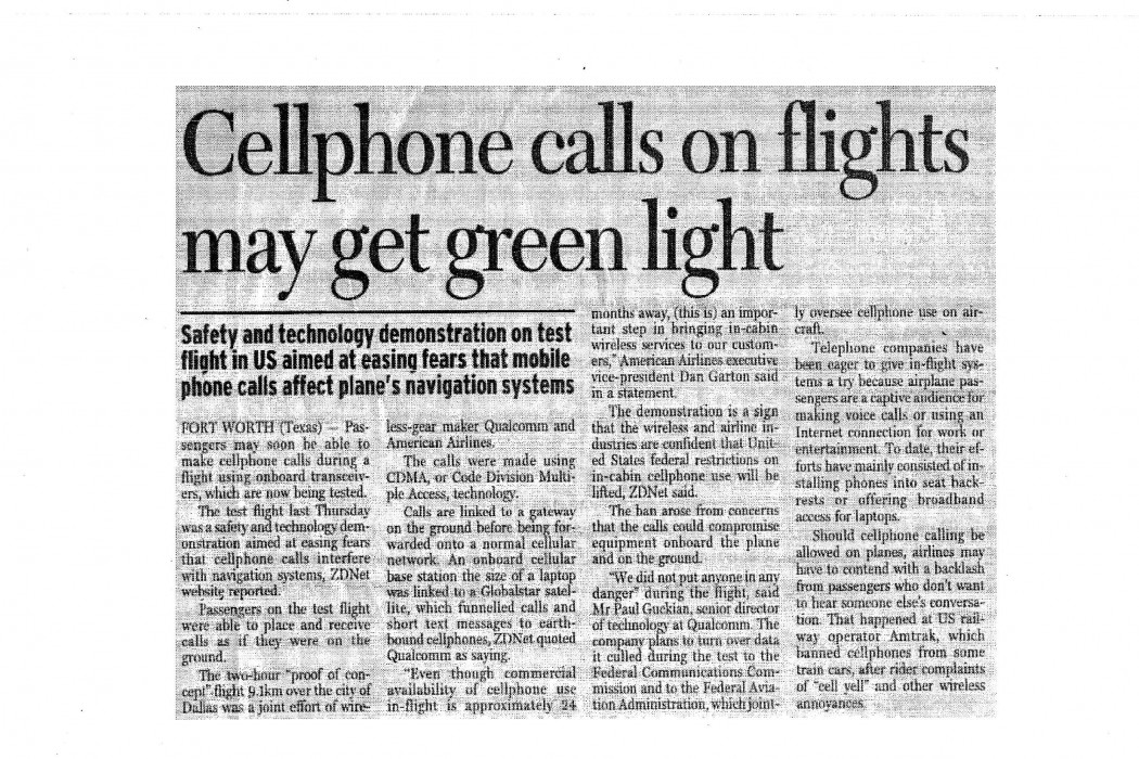 Cellphone calls on flights may get green light