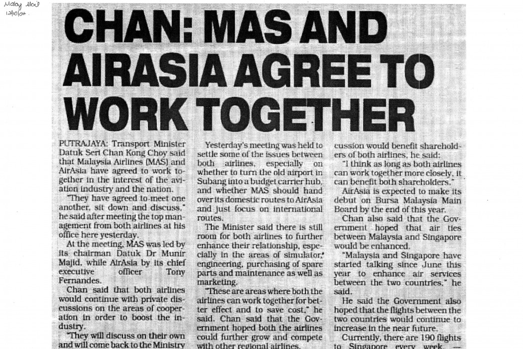 Chan MAS and airasia agree to work together