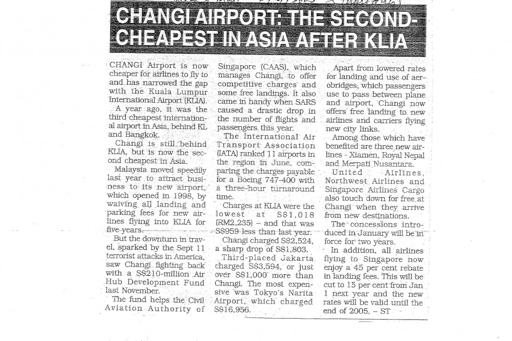 Changi Airport The Second-Cheapest In Asia After KLIA