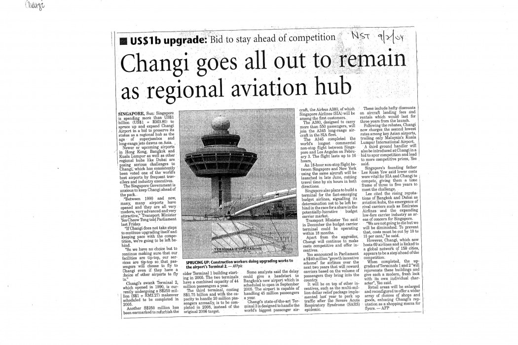 Changi goes all out to remain as regional aviation hub
