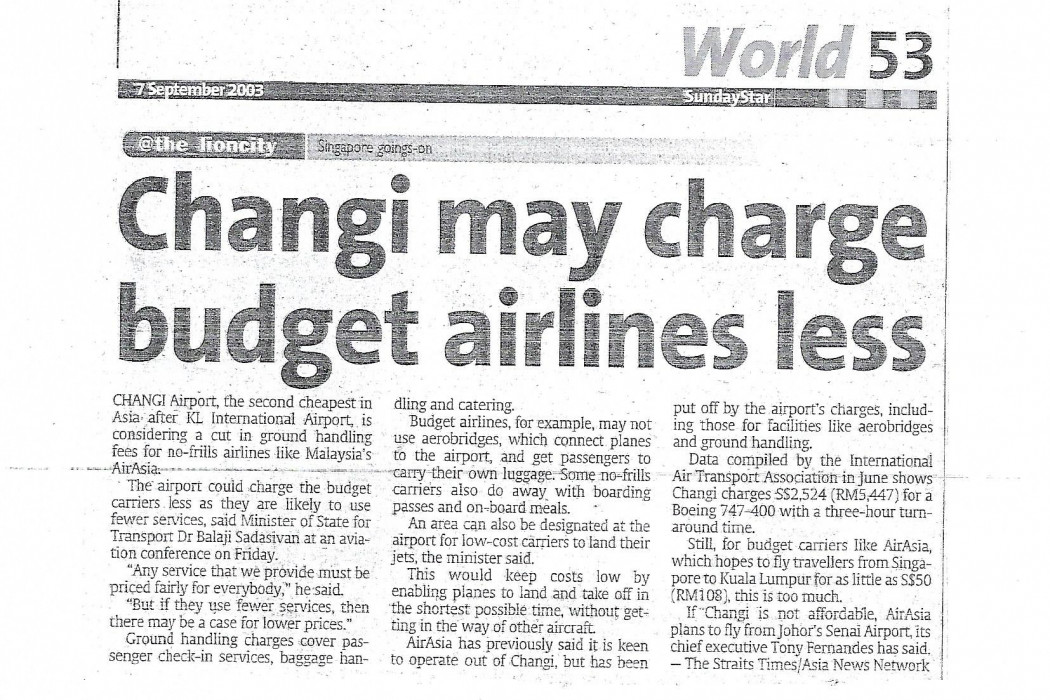 Changi may charge budget airlines less