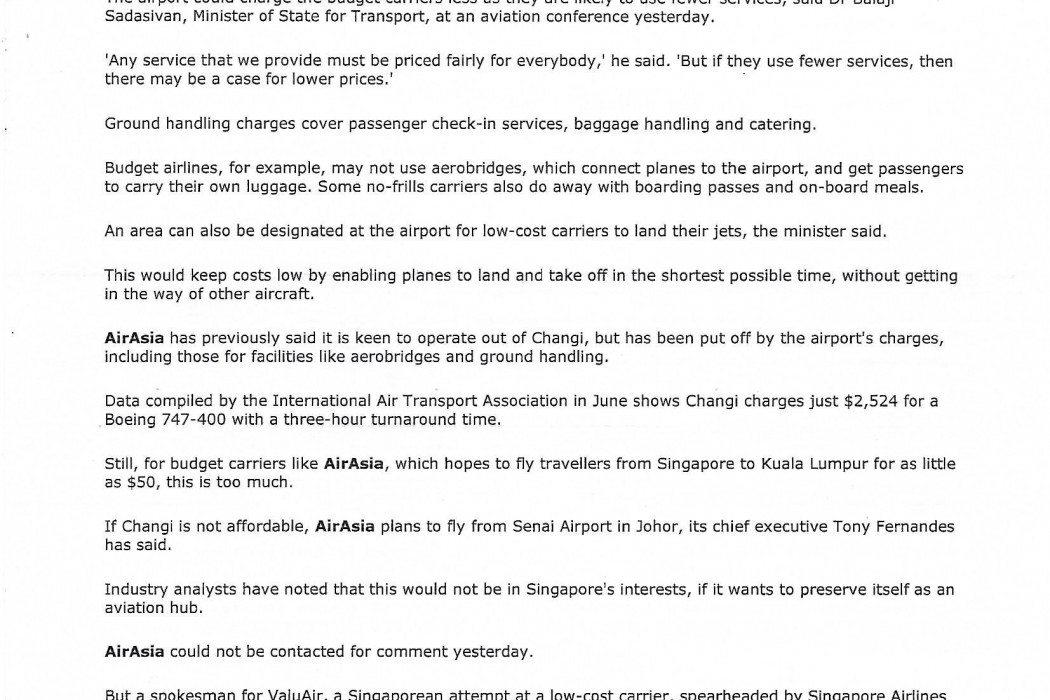 Changi may cut charges for budget airlines - 02