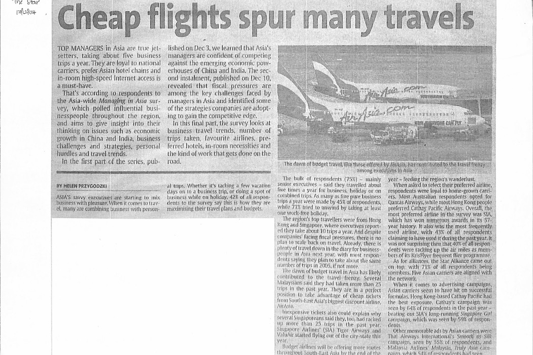 Cheap flights spur many travels